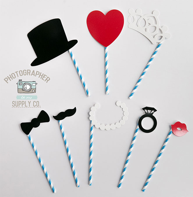8 Piece Paper Straw Wedding Photo Booth Props